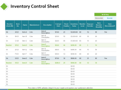 Inventory Control Sheet Ppt PowerPoint Presentation Show Visual Aids