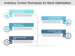 Inventory Control Techniques For Stock Optimization Ppt PowerPoint Presentation Infographics Background Designs