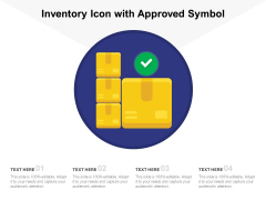 Inventory Icon With Approved Symbol Ppt PowerPoint Presentation Show Objects