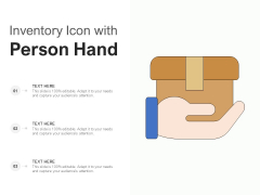 Inventory Icon With Person Hand Ppt PowerPoint Presentation Show Example