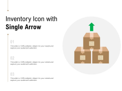Inventory Icon With Single Arrow Ppt PowerPoint Presentation Gallery Vector