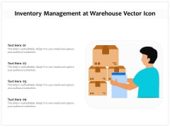 Inventory Management At Warehouse Vector Icon Ppt PowerPoint Presentation Gallery Guidelines PDF