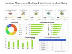 Inventory Management Dashboard With Cost Of Purchase Order Ppt PowerPoint Presentation Gallery Files PDF
