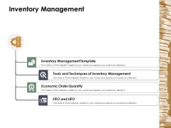 Inventory Management Ppt Powerpoint Presentation Ideas Outline