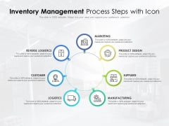 Inventory Management Process Steps With Icon Ppt PowerPoint Presentation Inspiration Design Ideas