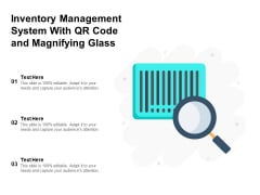 Inventory Management System With Qr Code And Magnifying Glass Ppt PowerPoint Presentation Gallery Example File PDF