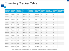 Inventory Tracker Table Ppt PowerPoint Presentation Show Guidelines