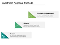 Investment Appraisal Methods Ppt PowerPoint Presentation Outline Layouts Cpb