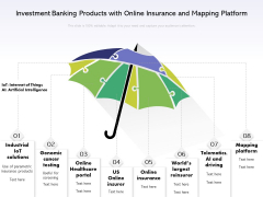 Investment Banking Products With Online Insurance And Mapping Platform Ppt PowerPoint Presentation File Design Templates PDF