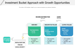 Investment Bucket Approach With Growth Opportunities Ppt PowerPoint Presentation Model Demonstration PDF