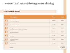 Investment Details With Cost Planning For Event Scheduling Ppt PowerPoint Presentation Icon Infographic Template PDF