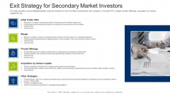 Investment Fundraising Pitch Deck From Stock Market Exit Strategy For Secondary Market Investors Pictures PDF