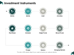 Investment Instruments Ppt Powerpoint Presentation Show Styles