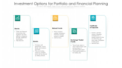 Investment Options For Portfolio And Financial Planning Ppt PowerPoint Presentation Gallery Display PDF