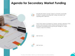Investment Pitch For Aftermarket Investment Pitch For Aftermarket Agenda For Secondary Market Funding Summary