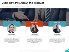 Investment Pitch For Aftermarket Users Reviews About The Product Ppt PowerPoint Presentation Outline Inspiration PDF