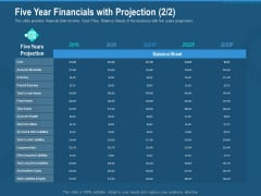 Investment Pitch To Generate Capital From Series B Venture Round Five Year Financials With Projection Market Ideas PDF