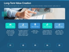 Investment Pitch To Generate Capital From Series B Venture Round Long Term Value Creation Icons PDF
