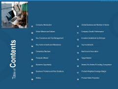 Investment Pitch To Generate Capital From Series B Venture Round Table Of Contents Microsoft PDF