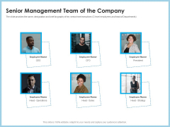 Investment Pitch To Generating Capital From Mezzanine Credit Senior Management Team Of The Company Icons PDF