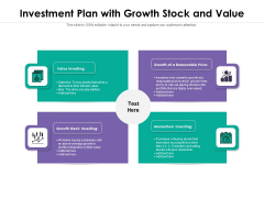 Investment Plan With Growth Stock And Value Ppt PowerPoint Presentation Gallery Background Image PDF