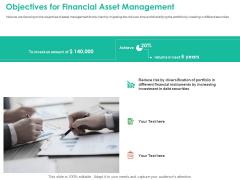 Investment Portfolio Management Objectives For Financial Asset Management Icons PDF