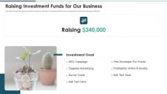 Investment Raising Pitch Deck Funds Allocation Raising Investment Funds For Our Business Ideas PDF