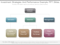 Investment Strategies And Performance Example Ppt Slides