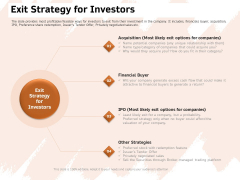 Investor Deck For Capital Generation From Substitute Funding Options Exit Strategy For Investors Ppt PowerPoint Presentation PDF
