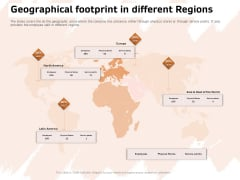 Investor Deck For Capital Generation From Substitute Funding Options Geographical Footprint In Different Regions Pictures PDF