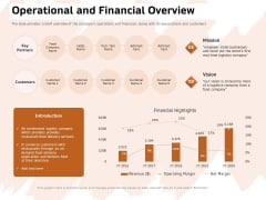 Investor Deck For Capital Generation From Substitute Funding Options Operational And Financial Overview Rules PDF
