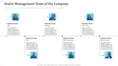 Investor Deck For Procuring Funds From Money Market Senior Management Team Of The Company Clipart PDF