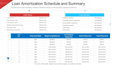 Investor Deck To Arrange Funds From Short Term Loan Loan Amortization Schedule And Summary Template PDF