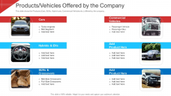 Investor Deck To Arrange Funds From Short Term Loan Products Vehicles Offered By The Company Graphics PDF