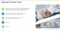Investor Deck To Increase Grant Funds From Public Corporation Agenda For Grant Funds Information PDF