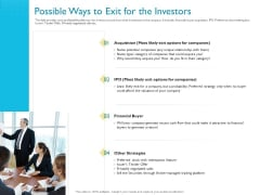Investor Funding Deck For Hybrid Financing Possible Ways To Exit For The Investors Diagrams PDF