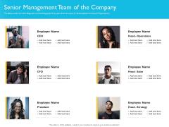 Investor Funding Deck For Hybrid Financing Senior Management Team Of The Company Infographics PDF