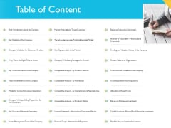 Investor Funding Deck For Hybrid Financing Table Of Content Ppt PowerPoint Presentation Icon Professional PDF