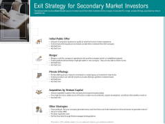 Investor Pitch Deck Collect Capital Financial Market Exit Strategy For Secondary Market Investors Professional PDF