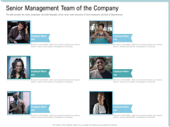 Investor Pitch Deck Collect Capital Financial Market Senior Management Team Of The Company Icons PDF
