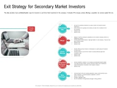 Investor Pitch Deck Collect Funding Spot Market Exit Strategy For Secondary Market Investors Background PDF