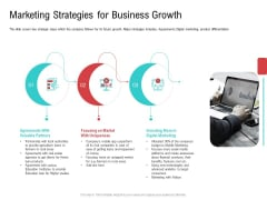 Investor Pitch Deck Collect Funding Spot Market Marketing Strategies For Business Growth Brochure PDF