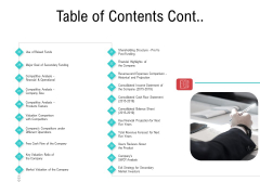 Investor Pitch Deck Collect Funding Spot Market Table Of Contents Cont Brochure PDF