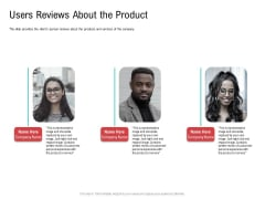 Investor Pitch Deck Collect Funding Spot Market Users Reviews About The Product Ideas PDF