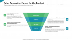Investor Pitch Deck For Seed Funding From Private Investor Sales Generation Funnel For The Product Ideas PDF