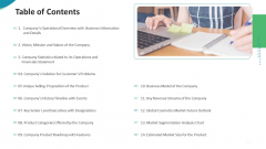Investor Pitch Deck For Seed Funding From Private Investor Table Of Contents Sample PDF
