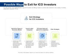 Investor Pitch Deck Initial Coin Offering Financing Possible Ways To Exit For Ico Investors Demonstration PDF