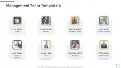 Investor Pitch Deck New Venture Capital Raising Management Team Graphic Diagrams PDF