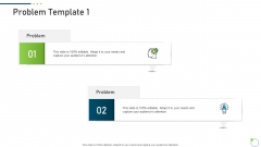Investor Pitch Deck New Venture Capital Raising Problem Template 1 Icons PDF