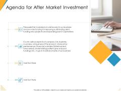 Investor Pitch Deck Post Market Financing Agenda For After Market Investment Designs PDF